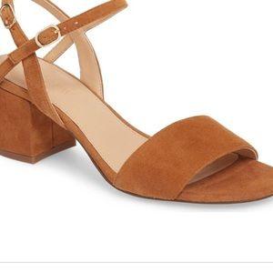 J crew suede block heeled sandal